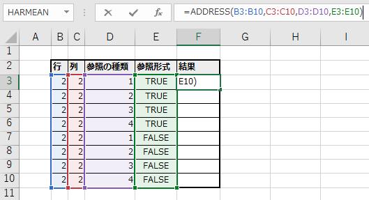 スピルでADDRESS関数を記述する例(F3セル)