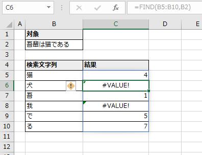 C5に指定したFIND関数がC10まで自動拡大