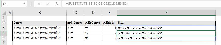 F3に指定したSUBSTITUTE関数がF5まで自動拡大