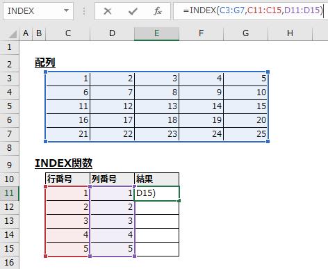 スピルでINDEX関数を記述する例(E11セル)