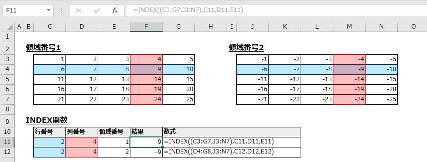 引数1に複数の範囲を指定する例