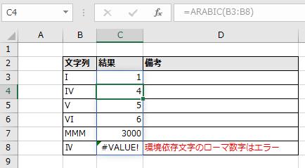 D3に指定したARABIC関数がD8まで自動拡大