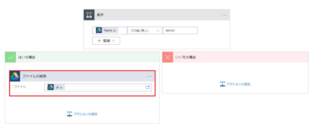 「はいの場合」の中にGoogle Driveの「ファイルの削除」を追加し、ファイルに動的なコンテンツの「Id」を指定