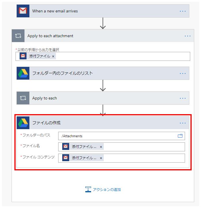 「Apply to each」の外、「Apply to each attachment」の最後尾にGoogleドライブの「ファイルの作成」を追加