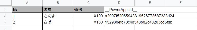 __PowerAppsId__が追加された表