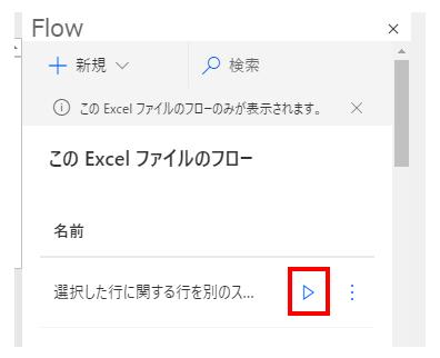 起動できるフロー一覧が表示されるので作成したフローの実行ボタンをクリック