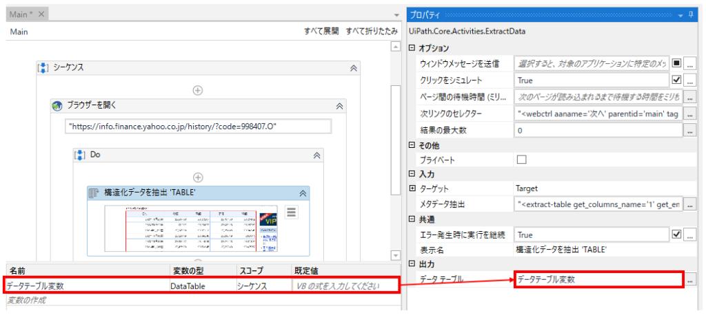 DataTable型変数を用意し、出力のデータテーブルに指定